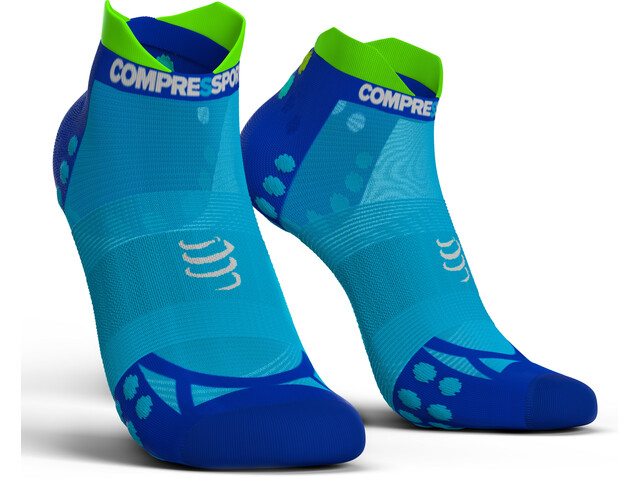 Compressport Pro Racing V3.0 UItralight Run Low Chaussettes, fluo blue